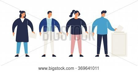 Different People With Ballots In Queue During Voting Vector Flat Illustration. Man And Woman Putting
