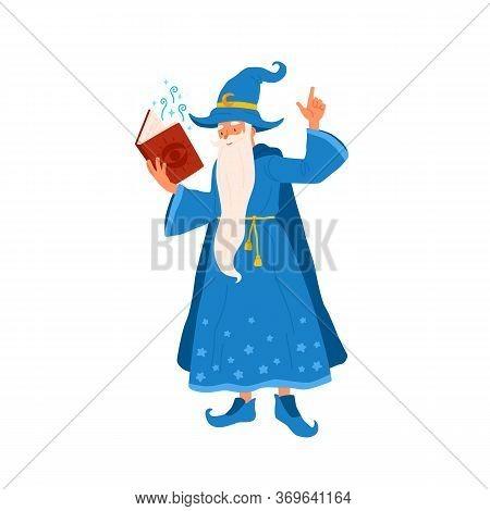 Cartoon Wizard Hold Book Reading Magic Spell Vector Flat Illustration. Funny Old Mystery Wizard Maki