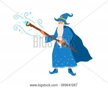Funny Gray Haired Wizard With Witchery Cane Pronounce Magic Spell Vector Flat Illustration. Old Male
