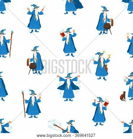 Bearded Elderly Wizard Making Magic Vector Flat Illustration. Fairytail Old Gray Haired Character Pr
