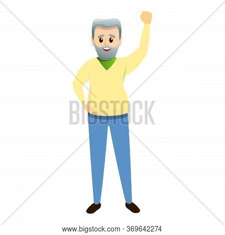 Grandfather Hand Up Icon. Cartoon Of Grandfather Hand Up Vector Icon For Web Design Isolated On Whit