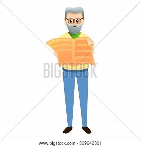 Grandfather Read Newspaper Icon. Cartoon Of Grandfather Read Newspaper Vector Icon For Web Design Is