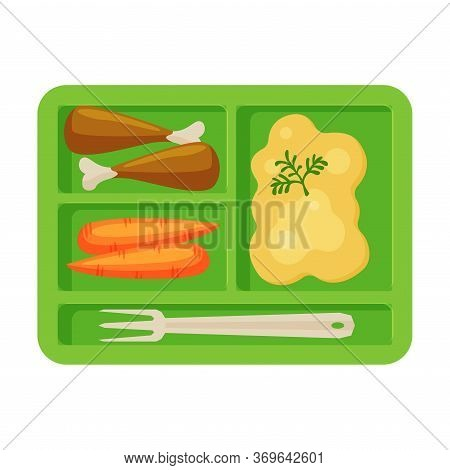 Meal Tray Filled With Mashed Potato, Chicken Drumsticks And Carrots, Healthy Food For Kids And Stude
