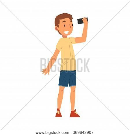 Smiling Boy Taking Selfie Photo, Cute Child Character Photographing Himself With Smartphone Cartoon