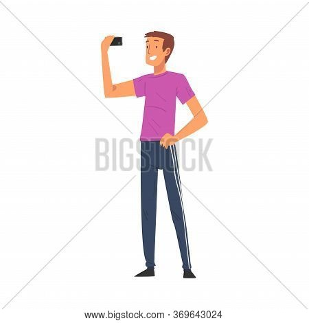 Smiling Man Taking Selfie Photo, Male Character Photographing Himself With Smartphone Cartoon Vector