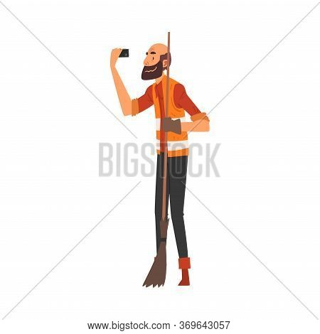 Male Janitor With Broom Taking Selfie Photo, Male Character Photographing Himself With Smartphone At