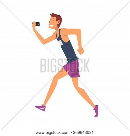Athlete Man Taking Selfie Photo While Running, Sportive Male Character Photographing Himself With Sm