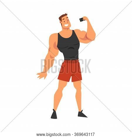 Athlete Muscular Man Taking Selfie Photo, Male Character Photographing Himself With Smartphone Carto