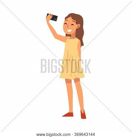 Smiling Girl Wearing Yellow Dress Taking Selfie Photo, Cute Child Character Photographing Herself Wi
