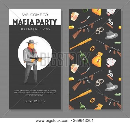 Mafia Party Card Template With Gangsters Objects Pattern, Invitation, Banner, Poster, Flyer Vector I