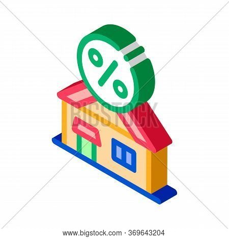 House Borrowed At Interest Credit Icon Vector. Isometric House Borrowed At Interest Credit Sign. Col