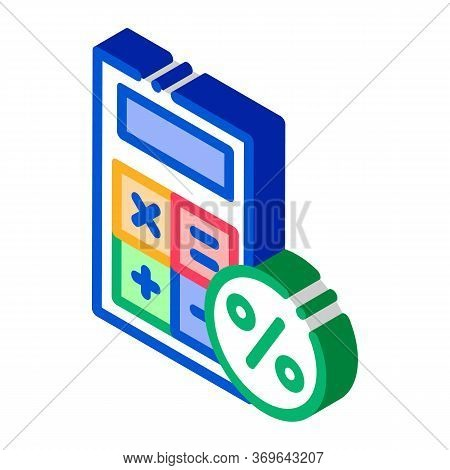 Math Calculator For Calculations Icon Vector. Isometric Math Calculator For Calculations Sign. Color