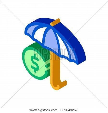Umbrella With Color Sectors Icon Vector. Isometric Umbrella With Color Sectors Sign. Color Isolated