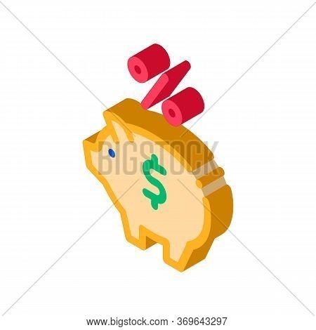 Piggy Bank Pig Money Icon Vector. Isometric Piggy Bank Pig Money Sign. Color Isolated Symbol Illustr