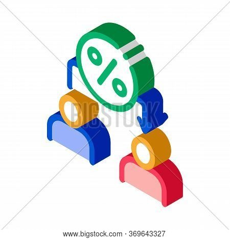 Lend Money Human Icon Vector. Isometric Lend Money Human Sign. Color Isolated Symbol Illustration