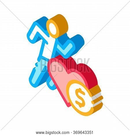 Athlete Health For Money Icon Vector. Isometric Athlete Health For Money Sign. Color Isolated Symbol