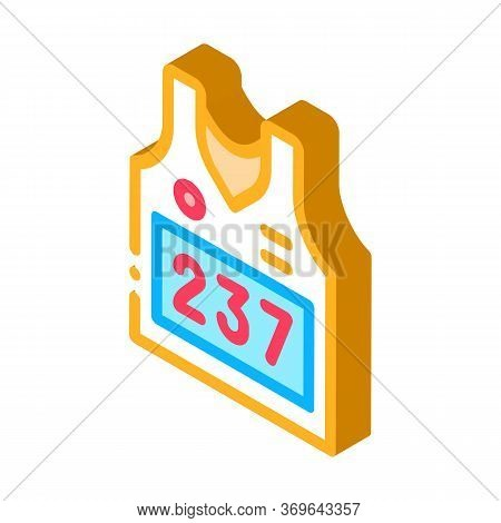 Vest With Personal Athlete Number Icon Vector. Isometric Vest With Personal Athlete Number Sign. Col