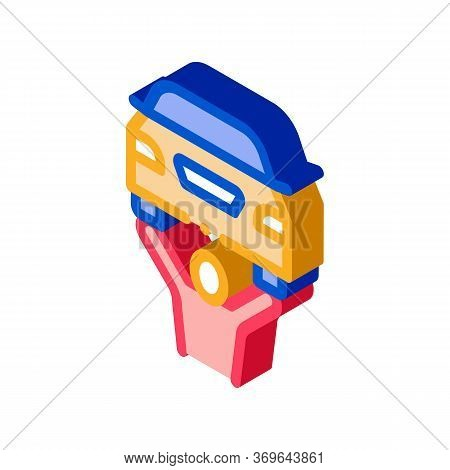 Man Raises Car Icon Vector. Isometric Man Raises Car Sign. Color Isolated Symbol Illustration