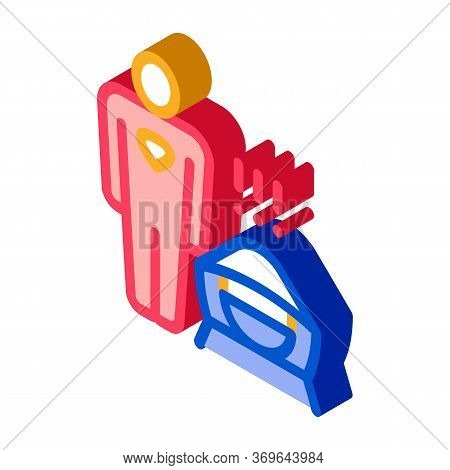Floodlight Give Signal Icon Vector. Isometric Floodlight Give Signal Sign. Color Isolated Symbol Ill