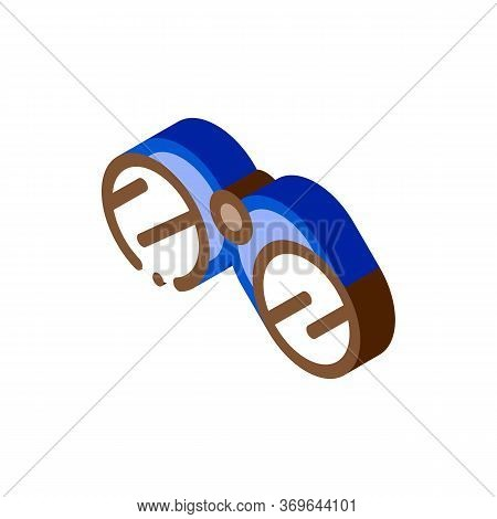 Tourist Camping Binoculars Icon Vector. Isometric Tourist Camping Binoculars Sign. Color Isolated Sy