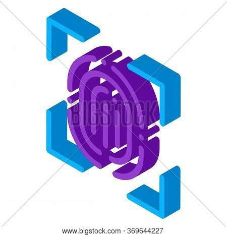 Scan Fingerprint Close-up Icon Vector. Isometric Scan Fingerprint Close-up Sign. Color Isolated Symb