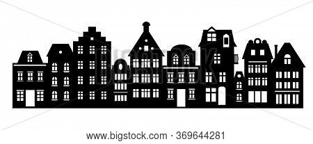 Laser Cutting Amsterdam Style Houses. Silhouette Of A Row Of Typical Dutch Canal View At Netherlands