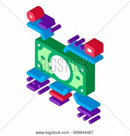 Elements Of Cash Banknotes Icon Vector. Isometric Elements Of Cash Banknotes Sign. Color Isolated Sy