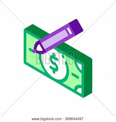 Drawing Fake Banknotes Icon Vector. Isometric Drawing Fake Banknotes Sign. Color Isolated Symbol Ill