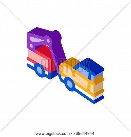 Escape Machine Truck Icon Vector. Isometric Escape Machine Truck Sign. Color Isolated Symbol Illustr