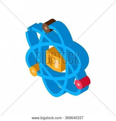 Atom Chemistry Study Icon Vector. Isometric Atom Chemistry Study Sign. Color Isolated Symbol Illustr