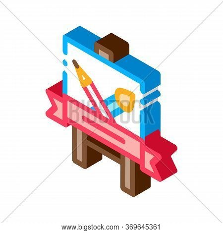 Student Painting Lesson Icon Vector. Isometric Student Painting Lesson Sign. Color Isolated Symbol I