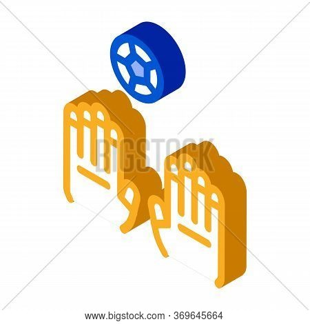 Goalkeeper Catches Ball Icon Vector. Isometric Goalkeeper Catches Ball Sign. Color Isolated Symbol I