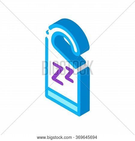 Hotel Handle Label Zzz Icon Vector. Isometric Hotel Handle Label Zzz Sign. Color Isolated Symbol Ill