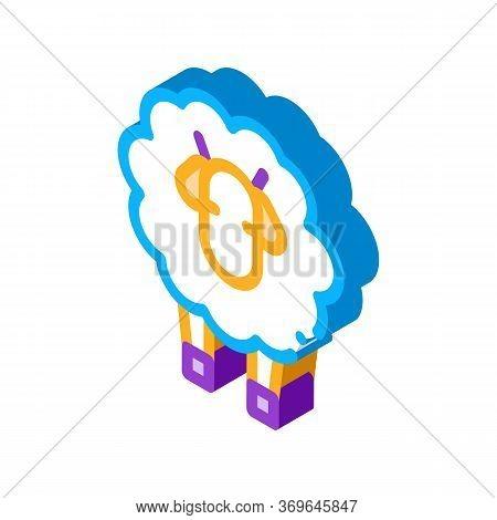 Woolly Sheep Lamb Animal Icon Vector. Isometric Woolly Sheep Lamb Animal Sign. Color Isolated Symbol
