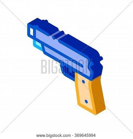 Iron Shooting Gun Icon Vector. Isometric Iron Shooting Gun Sign. Color Isolated Symbol Illustration