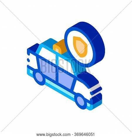 Police Car Machine Icon Vector. Isometric Police Car Machine Sign. Color Isolated Symbol Illustratio