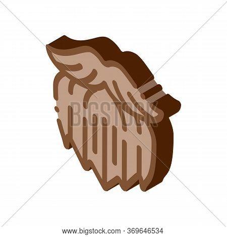 Human Brutal Bushy Beard Icon Vector. Isometric Human Brutal Bushy Beard Sign. Color Isolated Symbol