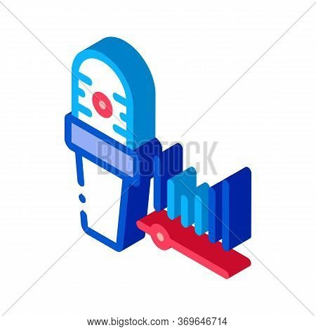Microphone Audio Waves Icon Vector. Isometric Microphone Audio Waves Sign. Color Isolated Symbol Ill
