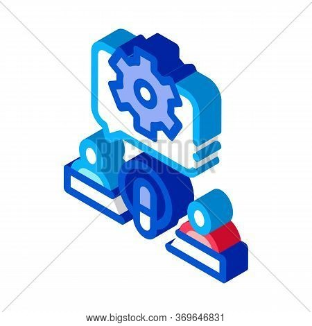 Hosts Microphone Gear Icon Vector. Isometric Hosts Microphone Gear Sign. Color Isolated Symbol Illus
