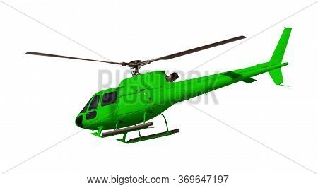 Green Helicopter Isolated On White. Photo With Clipping Path.
