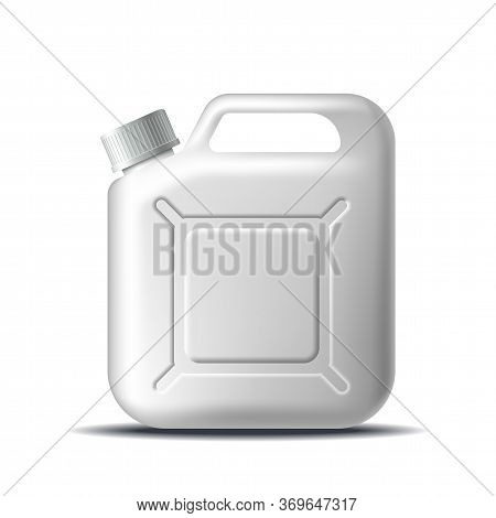 White Plastic Jerrycan Oil Isolated On White