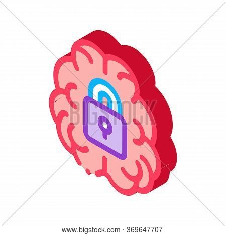 Brain And Locked Padlock Icon Vector. Isometric Brain And Locked Padlock Sign. Color Isolated Symbol