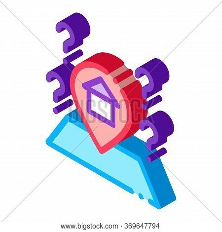 Gps Mark With House Icon Vector. Isometric Gps Mark With House Sign. Color Isolated Symbol Illustrat