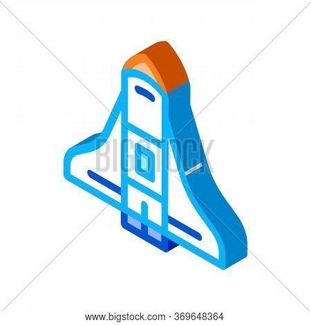 Space Shuttle Spaceship Icon Vector. Isometric Space Shuttle Spaceship Sign. Color Isolated Symbol I