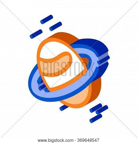 Saturn Planet Ring Icon Vector. Isometric Saturn Planet Ring Sign. Color Isolated Symbol Illustratio
