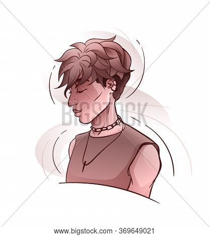 Young Handsome Man In Half-turned Pose, Vector Art
