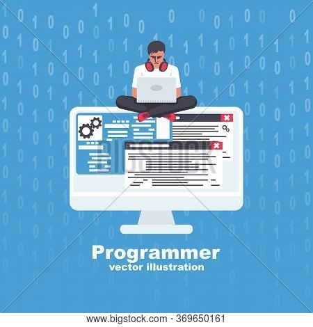 Programmer With Laptop Working On Program. Software Concept. Vector Illustration Flat Design. Coding