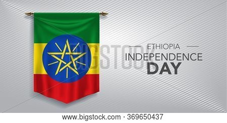 Ethiopia Independence Day Greeting Card, Banner, Vector Illustration