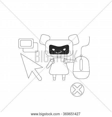 Click Bot Thin Line Concept Vector Illustration. Internet Marketing Fraud, Visitors Farming. Bad Rob