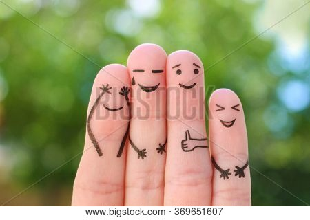 Fingers Art Of Family. The Concept Of Group Of People Laughing.